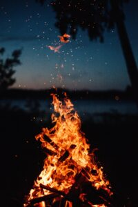 sparks from a burning campfire