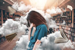 a woman overwhelmed by many books around her