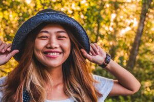 Happy, smiling Asian woman